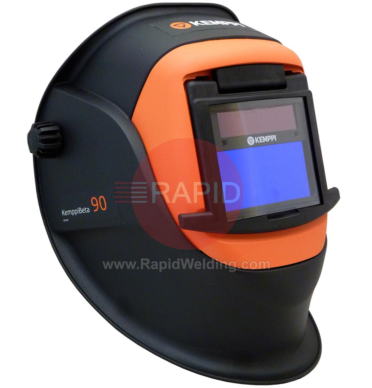 9873046  Kemppi Beta 90A Welding Helmet. Fitted With Variable Shade 4/9-13 EW Auto Darkening Filter. Flip Front For Grinding