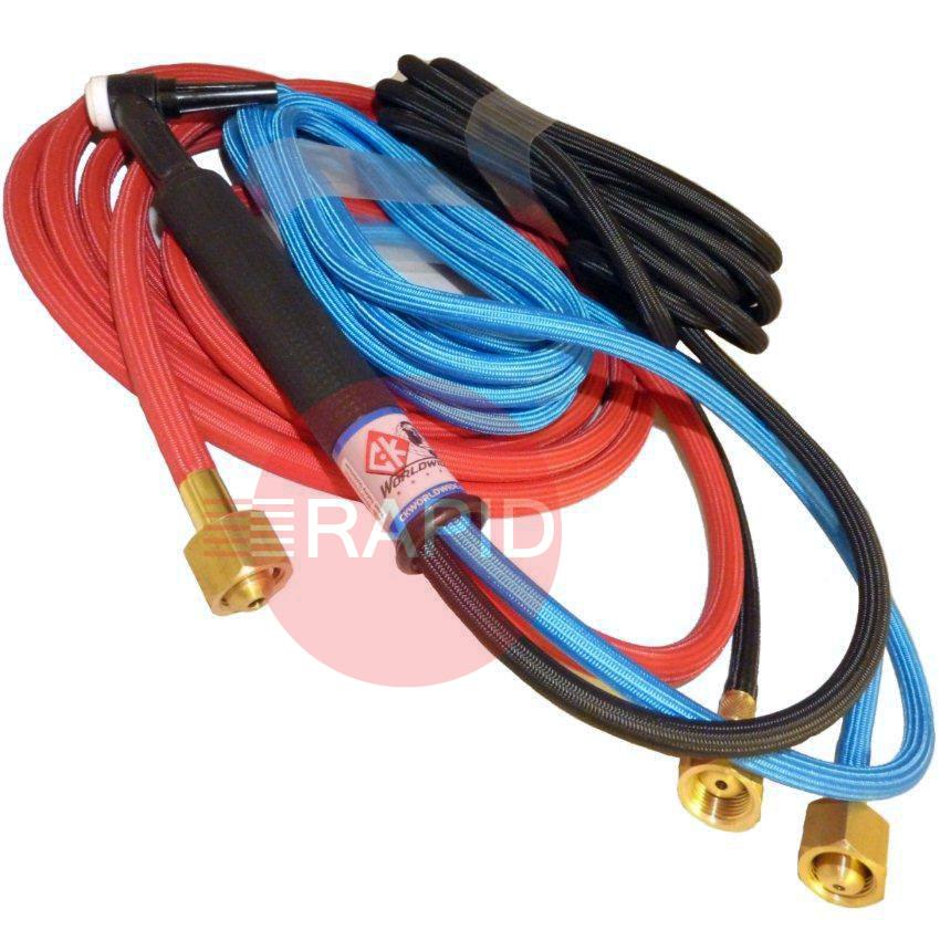 "CK-CK2325SF  CK 230 Water Cooled 300amp Tig Torch With 8m Superflex Cables. 3/8"" BSP. 2 Series Head Accessories"