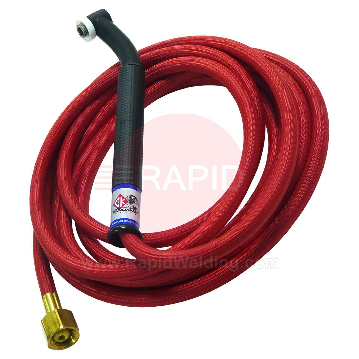 CK-CK2412RSFFX  CK24 Flex Head Gas cooled 80 amp Tig Torch With 1pc 4m Superflex Cable. 3/8 BSP