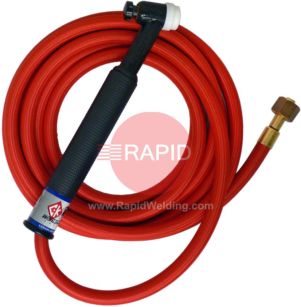 CK-CK2612RSFRG  CK26 Gas Cooled 200 amp Tig Torch With 1pc 4m Superflex Cable. 3/8 BSP.