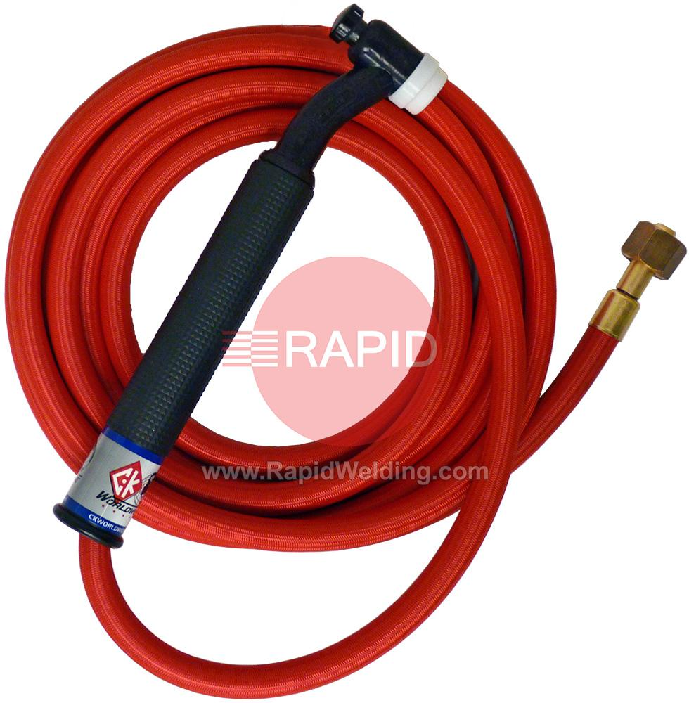 CK-CK2625RSFFX  CK26 Flex Head Gas Cooled 200amp Tig Torch with 7.6m 1pc Superflex Cable, 3/8 BSP