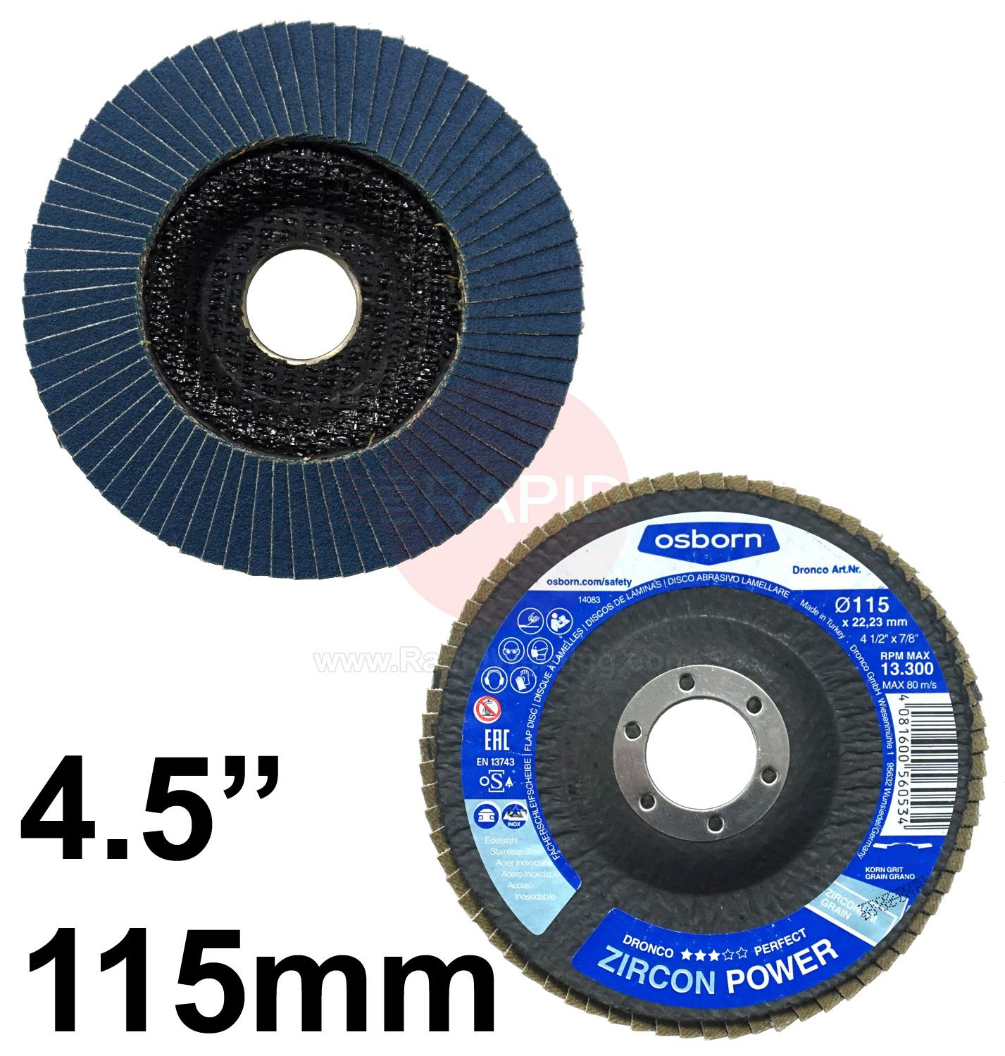 "FLAP412  4.5"" 115mm Flap Disc Conical"