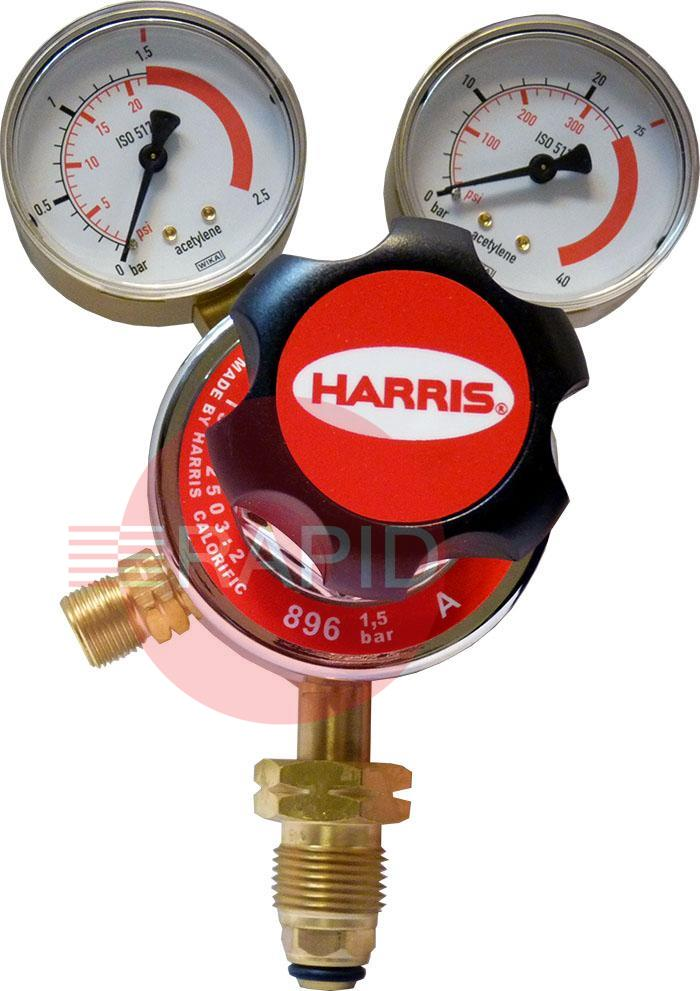 "H1041  Harris Acetylene 896 Two Stage Two Gauge Regulator 1.5 Bar, 5/8"" BSP LH Cylinder Connection, 3/8"" BSP Outlet, UK Fitting Only"