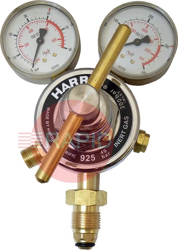 "H1088  Harris 925 Inert Gas Single Stage Two Gauge Heavy Duty Regulator 40.0 bar, 5/8"" BSP RH Cylinder Connection, 3/8"" BSP Outlet. UK Fitting Only"