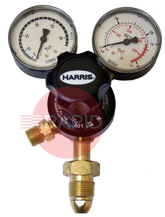"H1105  Harris 901 Argon Single Stage Regulator. 30lpm, 5/8"" RH BSP Cylinder Connection, 3/8"" BSP Outlet, UK Fitting Only"