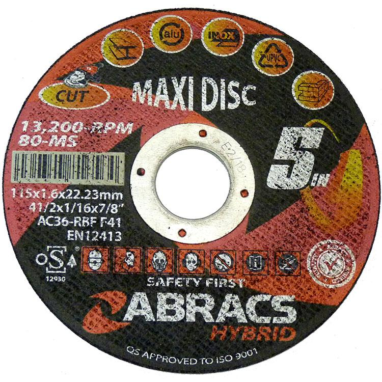 HY1156FM  ABRACS 5 In One Hybrid Maxi Flat Cutting Disc, 115mm x 1.6mm x 22mm