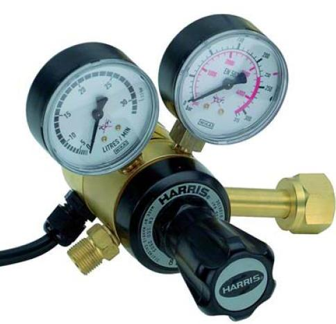 "HarrisHT-CO2  Harris 911 Heated CO2 Gas Regulator 0 - 30l/min, 5/8"" BSP RH Cylinder Connection, 3.8"" BSP Outlet, UK Fitting"