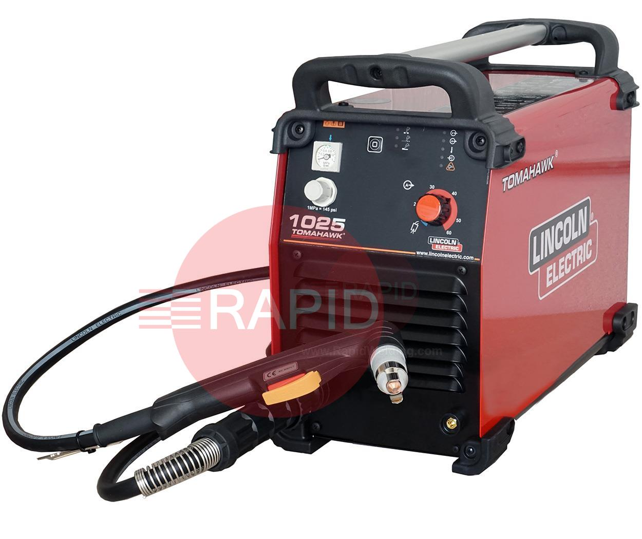 K12048-1  Lincoln Electric Tomahawk 1025 Plasma Cutter With 7.5M LC65 Hand Torch 400v 3ph 25mm Cut
