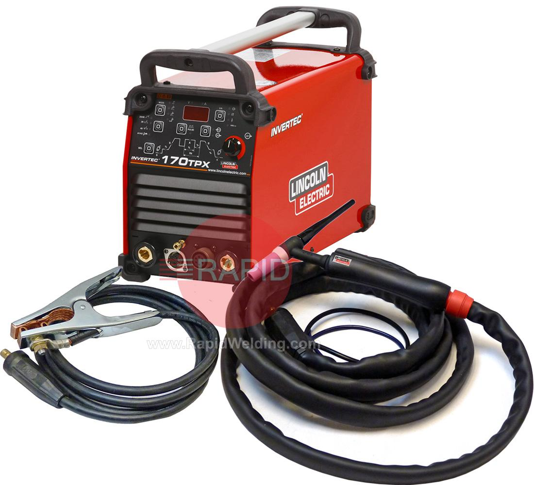 K12054-1P  Lincoln Invertec 170TX Tig Welder, Ready to Weld Package with LTP 17G 4m Tig Torch & Earth, 230v 1ph