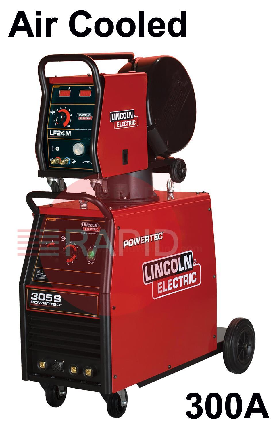 K14060-24-5P  Lincoln Powertec 305-S Mig Welder with LF-24M Wire Feeder and 5m Cable
