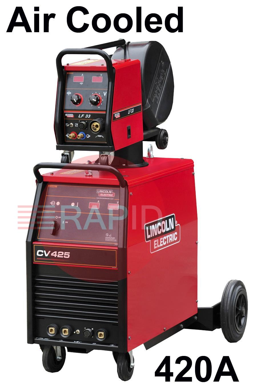 K14080-1A-33-RWP  Lincoln Electric Idealarc CV-425 Mig Welder,Air Cooled Ready to Weld Package, with LF-33 Wire Feeder, 5m Intercon,  400v 3ph