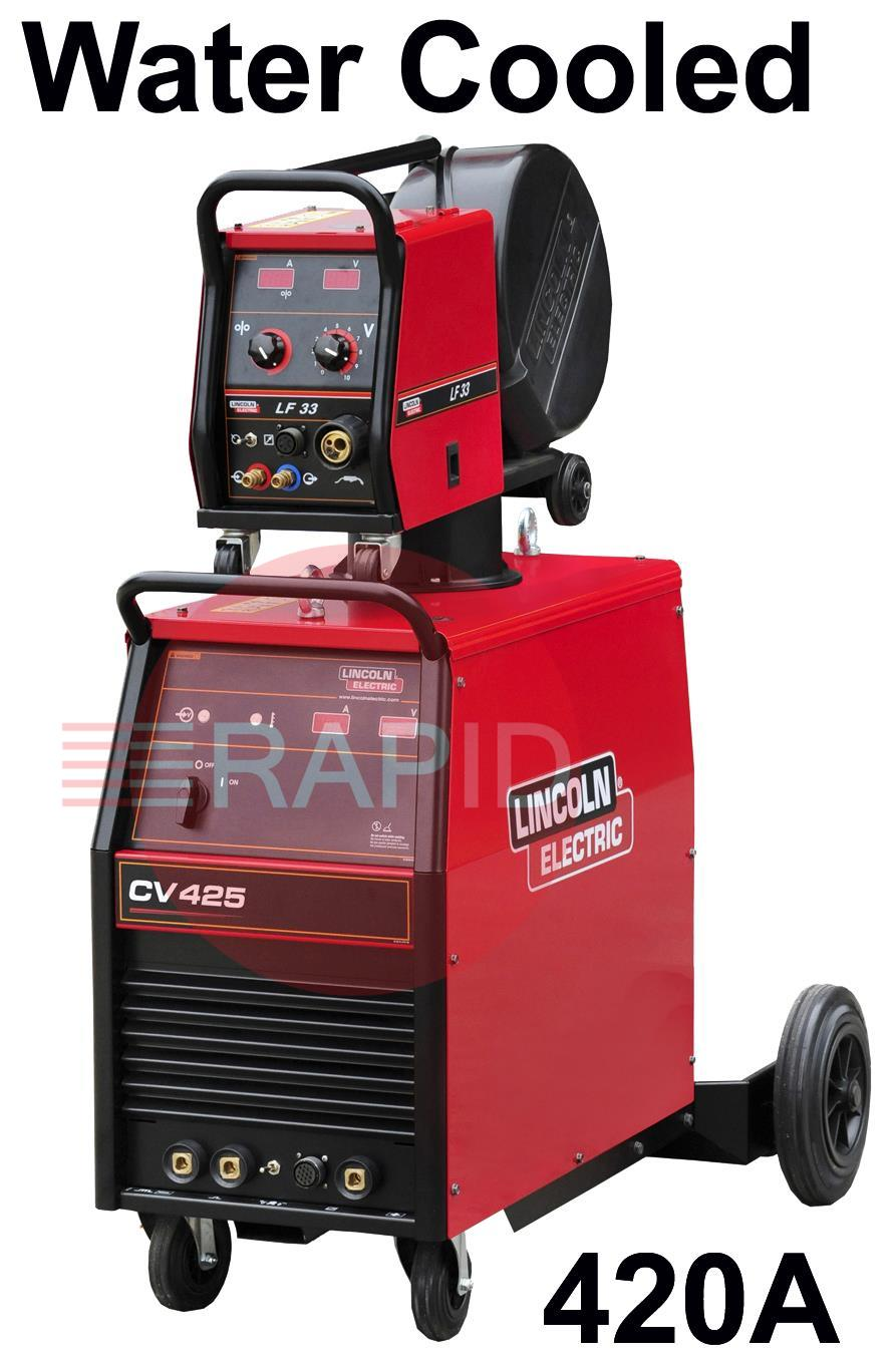 K14080-1W-33-RWP  Lincoln Electric Idealarc CV-425 Mig Welder, Water Cooled Ready to Weld Package, with LF33 Wire Feeder, 5m Intercon, 400v 3ph
