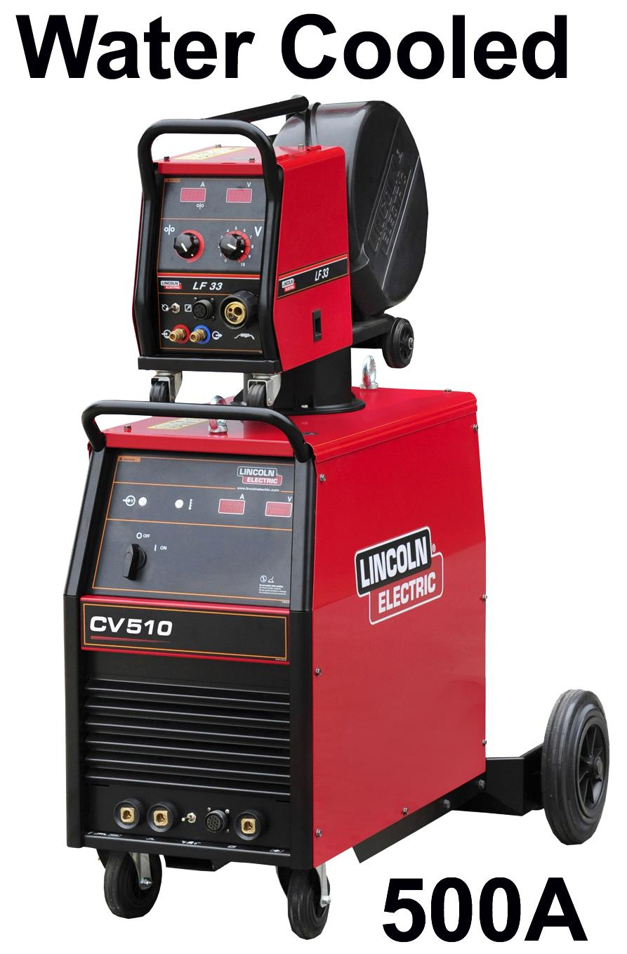 K14081-1W-33-RWP  Lincoln Idealarc CV-510 Mig Welder, Water Cooled Ready to Weld Package, with LF33 Wire Feeder, 5m Cable, 400v 3ph