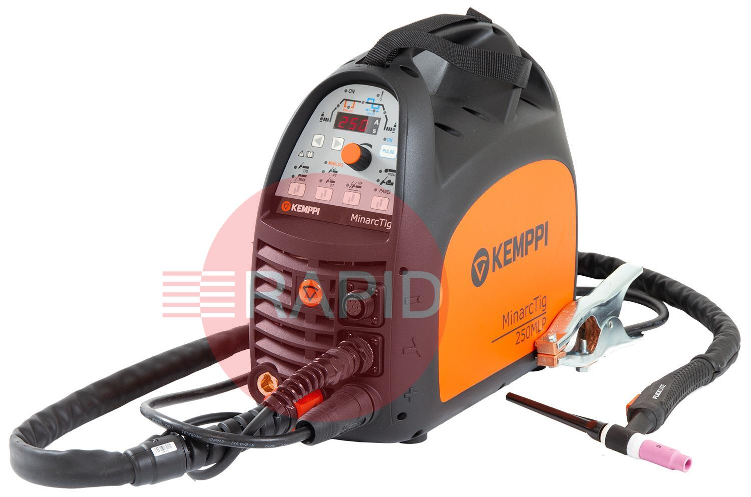 MinarcTig250MLP  Kemppi MinarcTig 250 MLP, Ready to Weld Package, Includes Tig Torch and Earth Cable, 400v 3 Phase