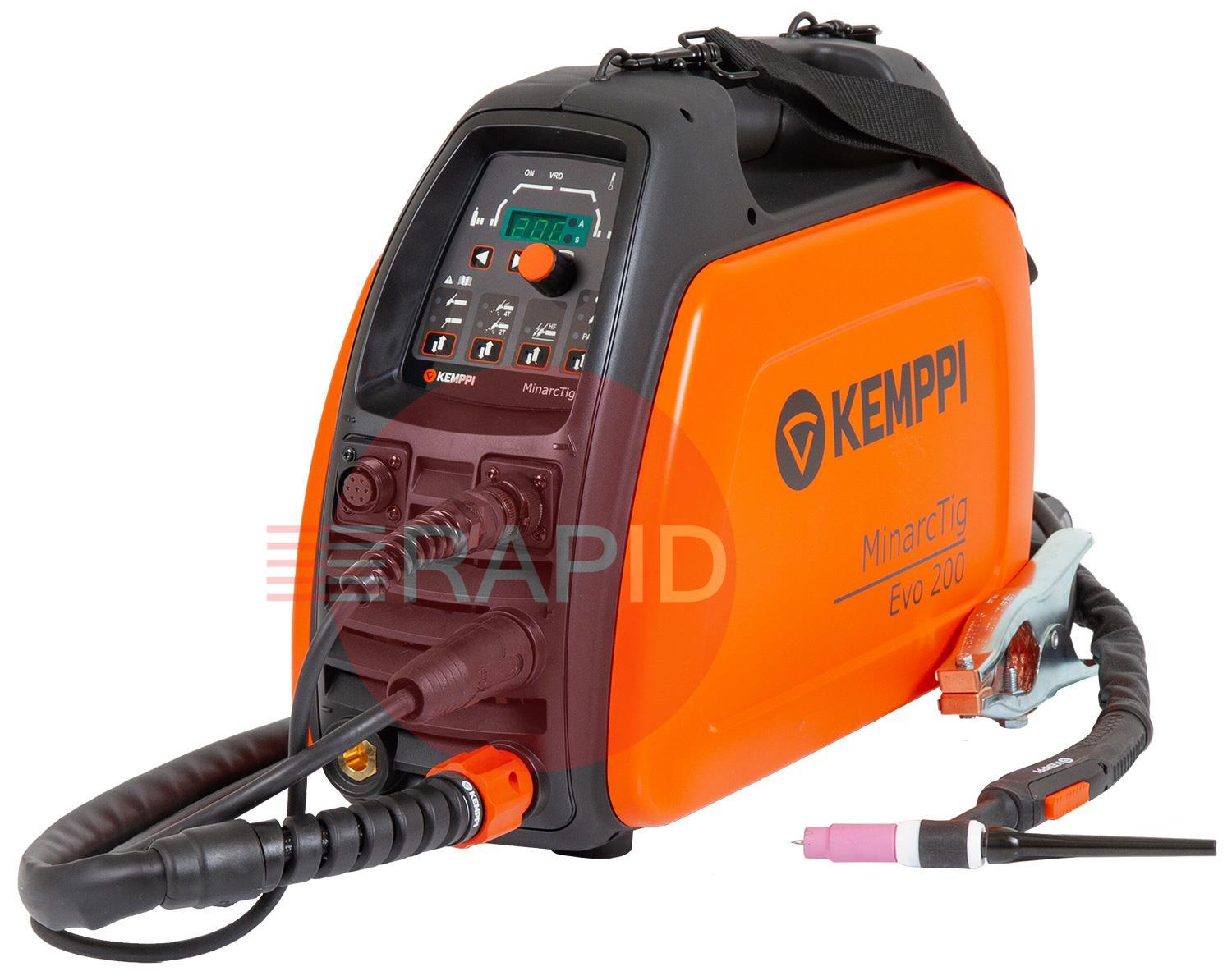 Minarctig200Evo  Kemppi MinarcTig Evo 200 Ready to Weld Package, includes Tig Torch & Earth Cable - 230v, CE