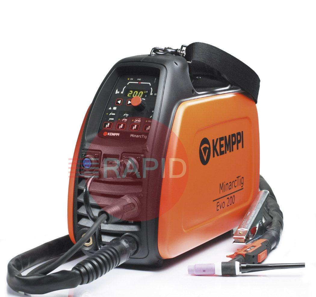 P0649  Kemppi MinarcTig EVO 200 with 8m TTC160S Torch, Earth Cable & Gas Hose <font color='blue'> Includes Free European Shipping</font>
