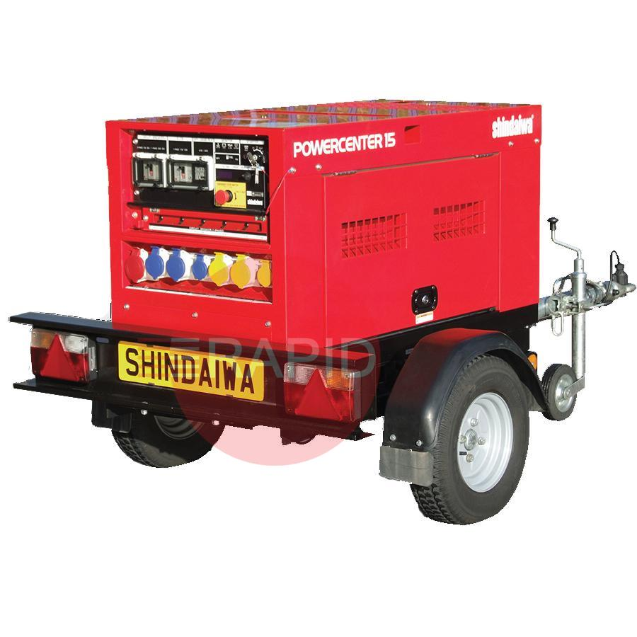 PWC15G  Shindaiwa Powercenter 15 Diesel Generator, 15 kVA, 110/240/415V Multi Voltage with Road Tow