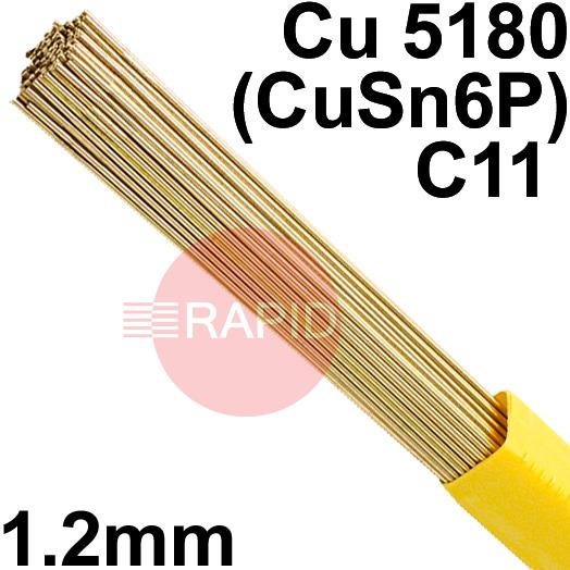 RO0812XX  SIFPHOSPHOR BRONZE No 8 rod 1.2mm Diameter, Cu 5180 (CuSn6P), C11
