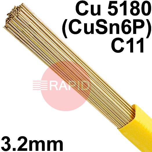 RO0832XX  SIFPHOSPHOR BRONZE No 8 rod 3.2mm Diameter, Cu 5180 (CuSn6P), C11