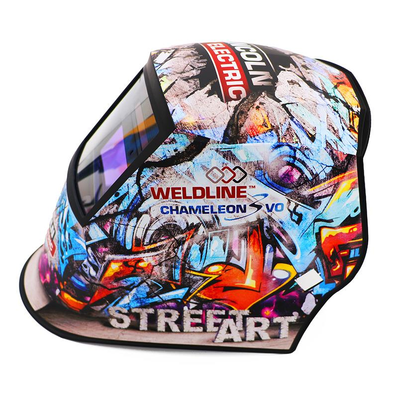 W000403546  Rapid Exclusive - Limited Edition. Only 64 for the UK. Lincoln Weldline Street Art Chameleon 3VO Auto Darkening Welding Helmet, Shade 6/9 - 13 With A Free Storage Bag