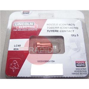 W03X0893-15A  Torch Expendables - PC620 Contact Tip/Nozzle 60A (Pack of 5)