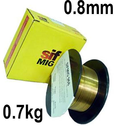WO960807  Sifmig 968 copper wire containing 3% silicon and 1% manganese 0.8mm Dia 0.7 kg Spl, ISO 2473 Cu 6560 (CuSi3Mn1), BS: 2901 C9