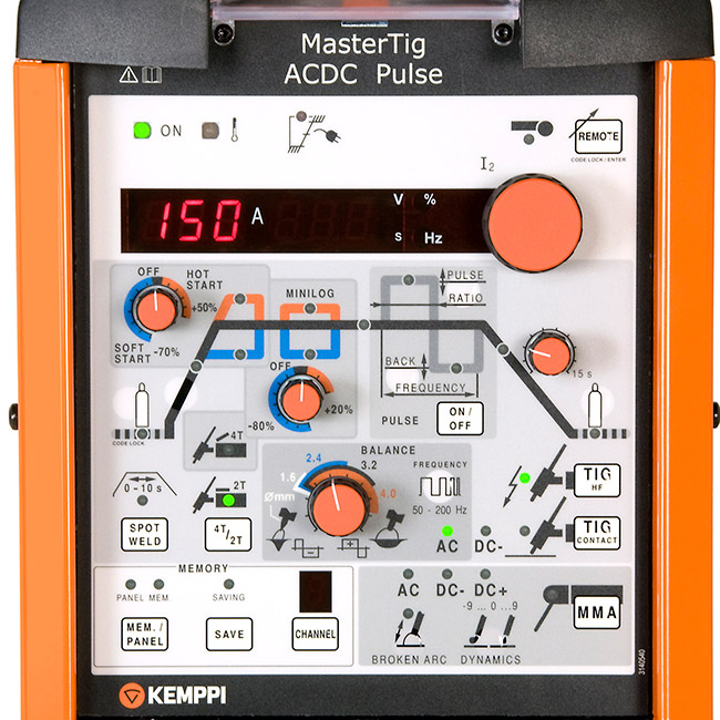 Kemppi MasterTig 3500W ACDC Pulse Panel